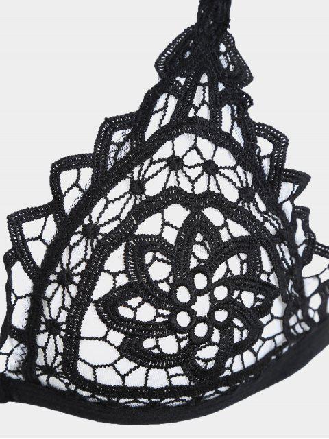 latest Crochet Front Closure Mesh Bra - BLACK M Mobile