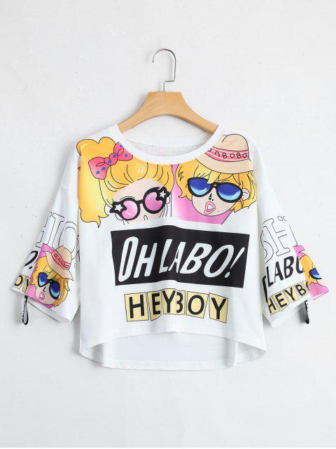 trendy Cartoon Letter Print Drop Shoulder Tee - WHITE ONE SIZE Mobile