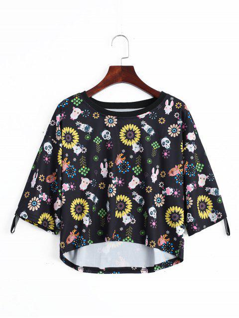 Camiseta floral animal de la impresión del hombr - Negro Única Talla Mobile
