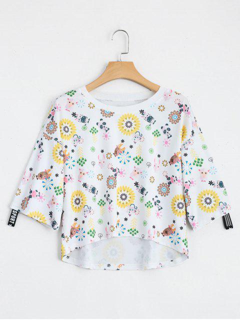 Camiseta floral animal de la impresión del hombr - Blanco Única Talla Mobile