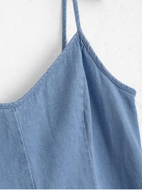 hot Back Lace Up Cami Denim Dress - LIGHT BLUE M Mobile