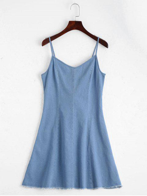 hot Back Lace Up Cami Denim Dress - LIGHT BLUE M Mobile