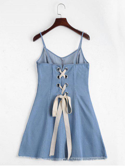 outfit Back Lace Up Cami Denim Dress - LIGHT BLUE L Mobile