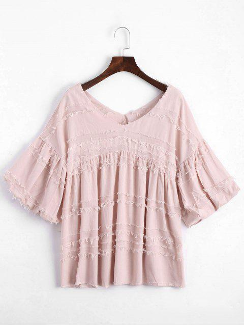 lady V Neck Lantern Sleeve Plain Blouse - PINK S Mobile