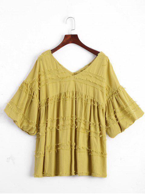 V-Ausschnitt Laterne Ärmel Uni Bluse - Ingwer-Gelb L Mobile