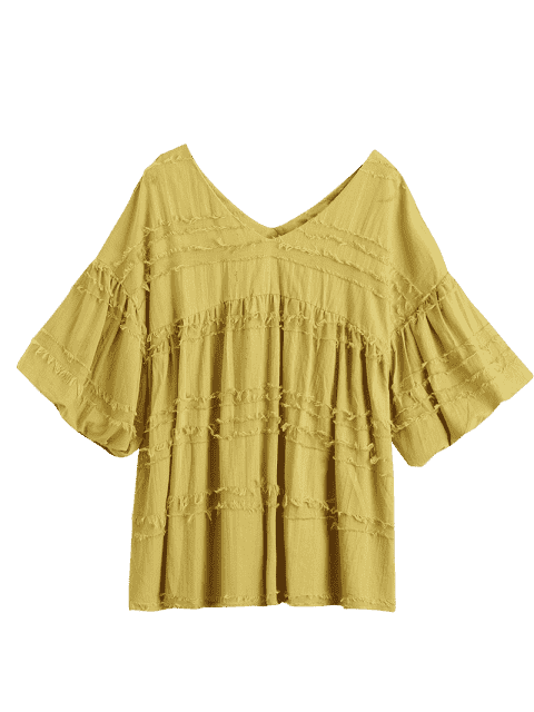 V Neck Lantern Sleeve Plain Blouse - Curcumae S Mobile