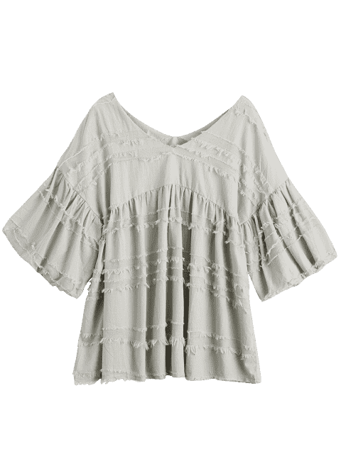 V Neck Lantern Sleeve Plain Blouse - Gris S Mobile