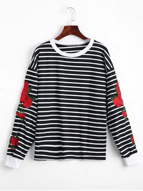 fancy Floral Patched Striped Sweatshirt - BLACK ONE SIZE Mobile