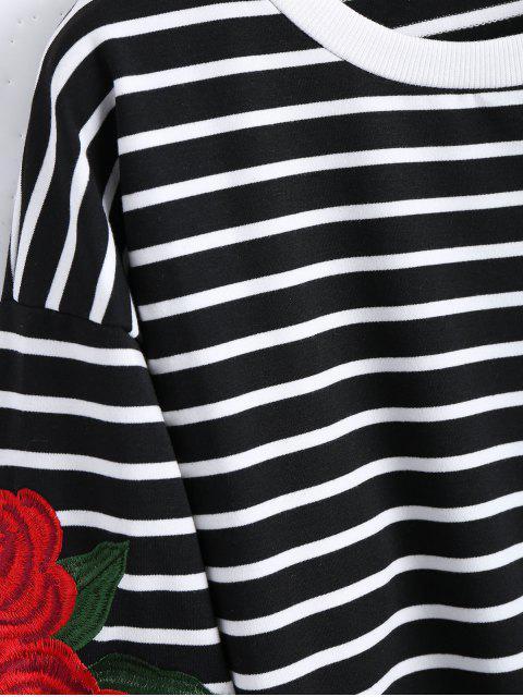 Sweat à rayures à motifs floraux - Noir TAILLE MOYENNE Mobile