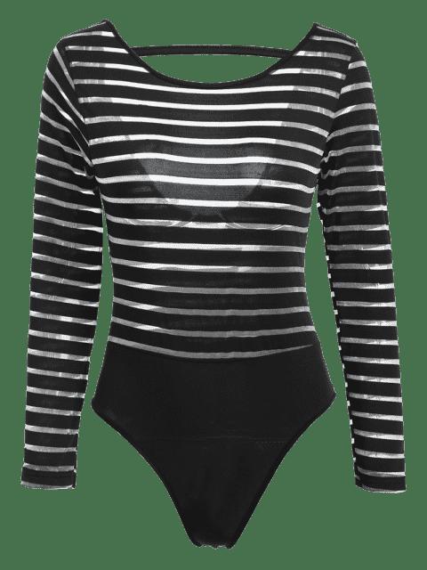 Solide Couleur See-Through col rond manches longues Bodysuit - Noir L Mobile