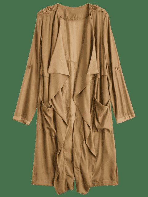 online Drape Front Long Duster Coat - DARK KHAKI L Mobile