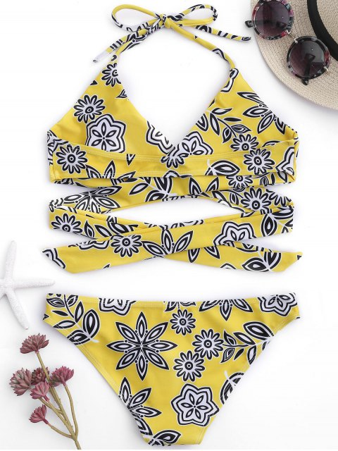 latest Padded Floral Wrap Bikini - YELLOW S Mobile