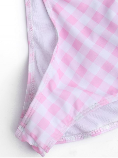 trendy One Piece Checked High Cut Swimsuit - PINK AND WHITE L Mobile