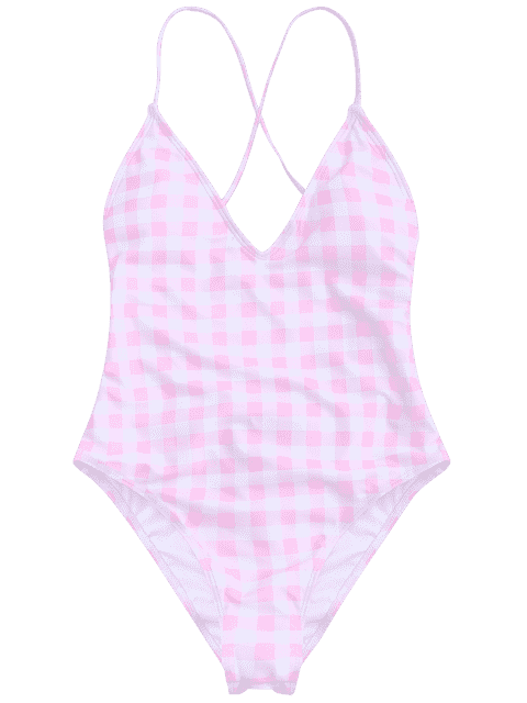 fashion One Piece Checked High Cut Swimsuit - PINK AND WHITE M Mobile
