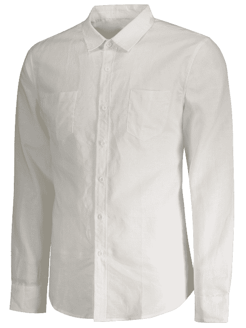 buy Linen Slim Fit Pockets Shirt - WHITE XL Mobile