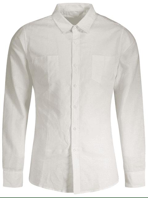 Chemise en lin Slim Fit Poches - Blanc L Mobile