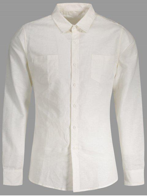 women Linen Slim Fit Pockets Shirt - WHITE M Mobile