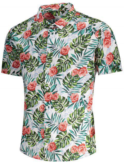 best Short Sleeve Monstera Leaf Shirt - FLORAL M Mobile