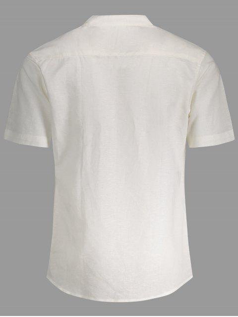 Chemise imprimée en feuille de poche en lin - Blanc 2XL Mobile