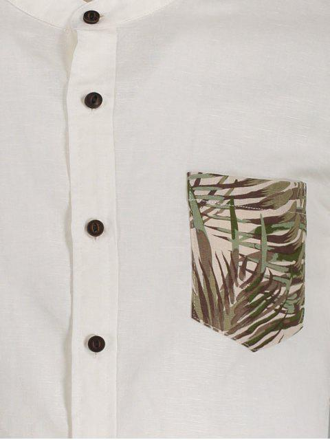 outfit Linen Pocket Leaf Print Shirt - WHITE M Mobile