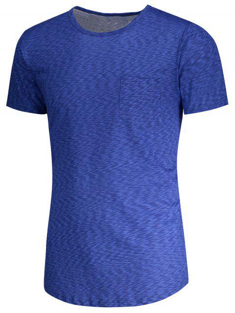 shop Pocket Heathered T-shirt - BLUE XL Mobile
