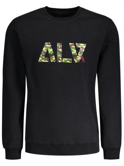 trendy Graphic Basic Slim Fit Sweatshirt - BLACK 2XL Mobile
