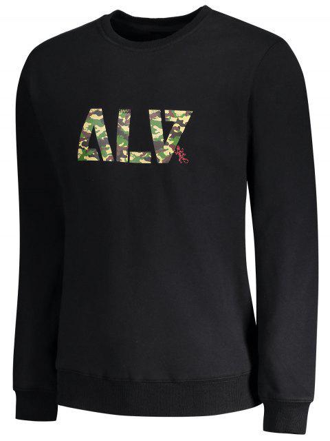 chic Graphic Basic Slim Fit Sweatshirt - BLACK L Mobile