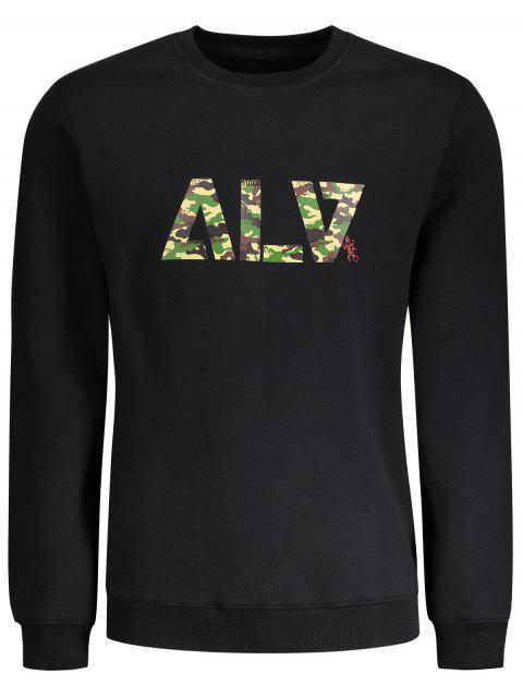 fancy Graphic Basic Slim Fit Flocking Sweatshirt - BLACK M Mobile