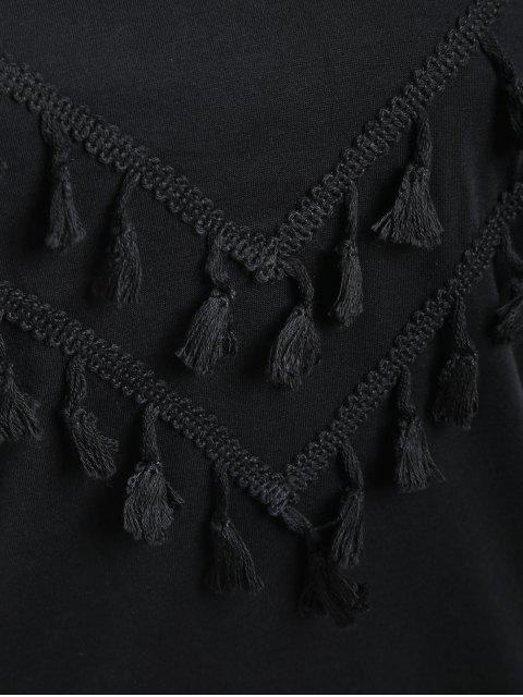 shops Tassels Embellished Long Sleeve Tee - BLACK S Mobile