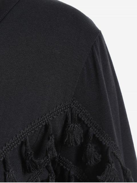 latest Tassels Embellished Long Sleeve Tee - BLACK M Mobile