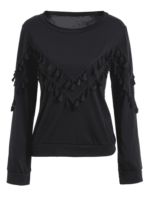 trendy Tassels Embellished Long Sleeve Tee - BLACK L Mobile