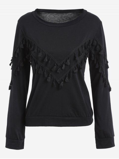 fashion Tassels Embellished Long Sleeve Tee - BLACK XL Mobile