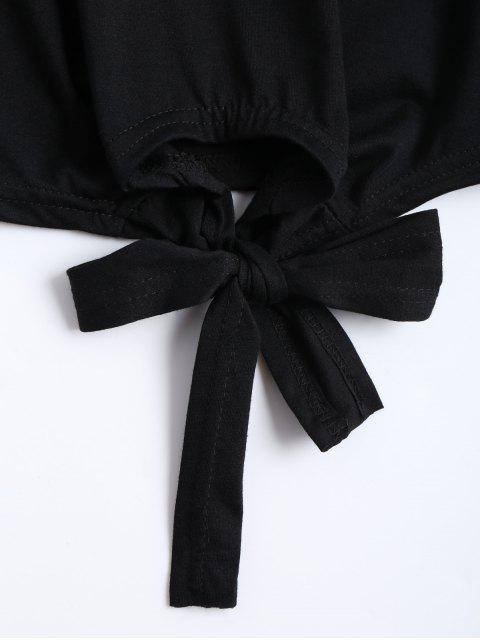 sale Bow Tied Floral Embroidered Cropped Top - BLACK S Mobile