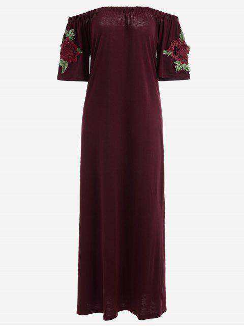 outfits Floral Patched Off The Shoulder Dress - WINE RED S Mobile