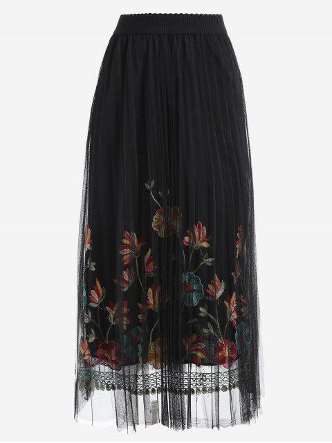 trendy Floral Mesh Panel Skirt - BLACK ONE SIZE Mobile