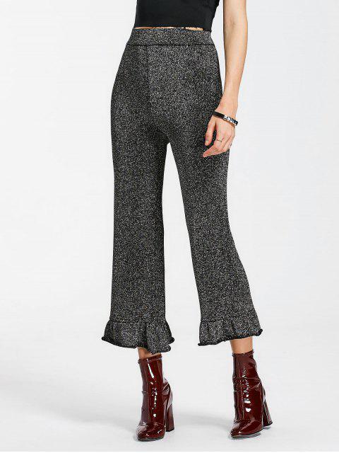 Pantalon Brillant Ourlet à Volants Taille Haute - Gris Noir L Mobile