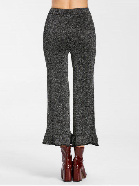 chic High Waist Ruffle Hem Glitter Pants - BLACK GREY L Mobile