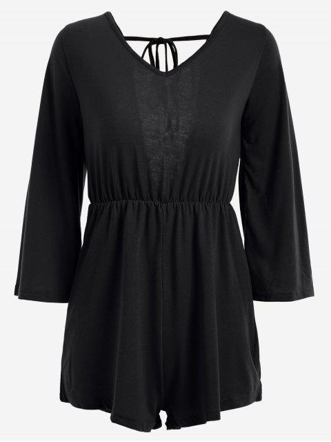 V Shaped Back Tassels Romper - Noir L Mobile