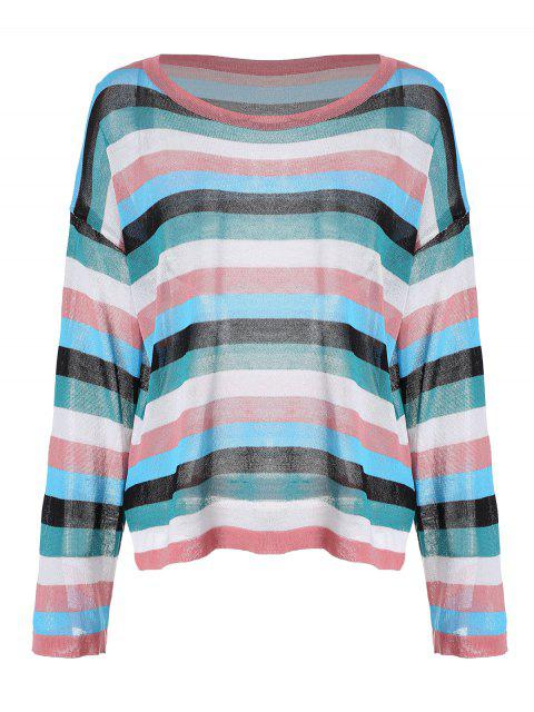 buy Drop Shoulder Striped Knitted Top - PINK ONE SIZE Mobile