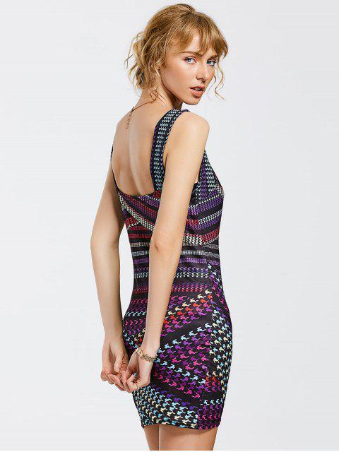 shop Printed Mini Bodycon Dress - COLORMIX M Mobile