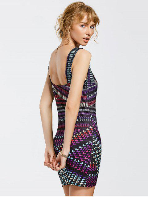 shops Printed Mini Bodycon Dress - COLORMIX S Mobile