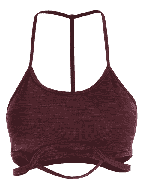 latest Cutout Sports Bra - DARK RED S Mobile