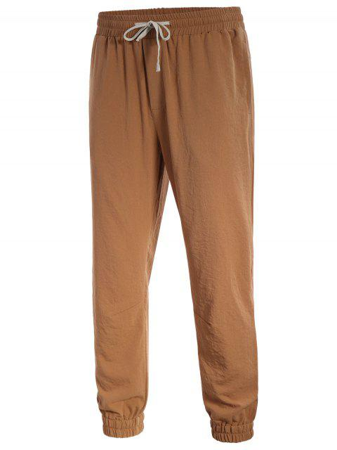 unique Men Drawstring Jogger Pants - LIGHT BROWN XL Mobile