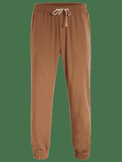 shops Men Drawstring Jogger Pants - LIGHT BROWN 4XL Mobile