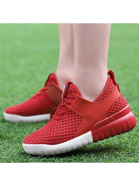 latest Faux Leather Insert Mesh Breathable Athletic Shoes - RED 37 Mobile