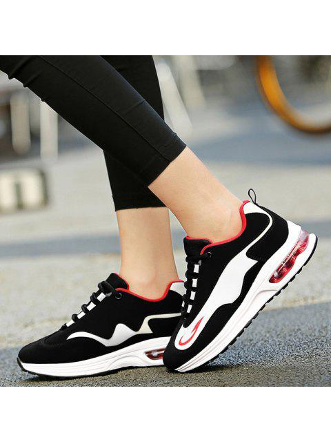 womens Air Cushion Breathable Athletic Shoes - RED WITH BLACK 38 Mobile