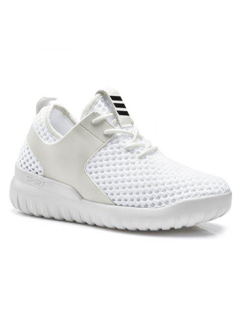shop Faux Leather Insert Mesh Breathable Athletic Shoes - WHITE 37 Mobile