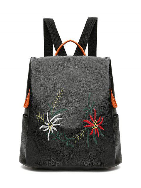 unique Embroidered Faux Leather Backpack - BLACK  Mobile