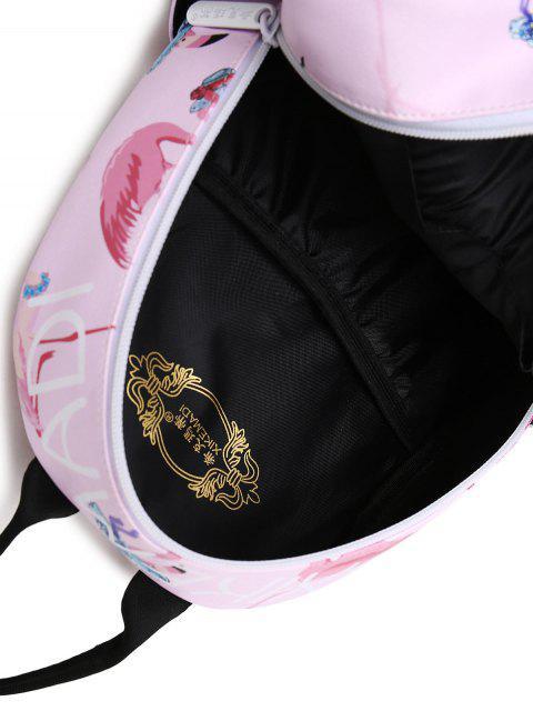 Sac à dos Faux Leather Flamingo Print - ROSE PÂLE  Mobile
