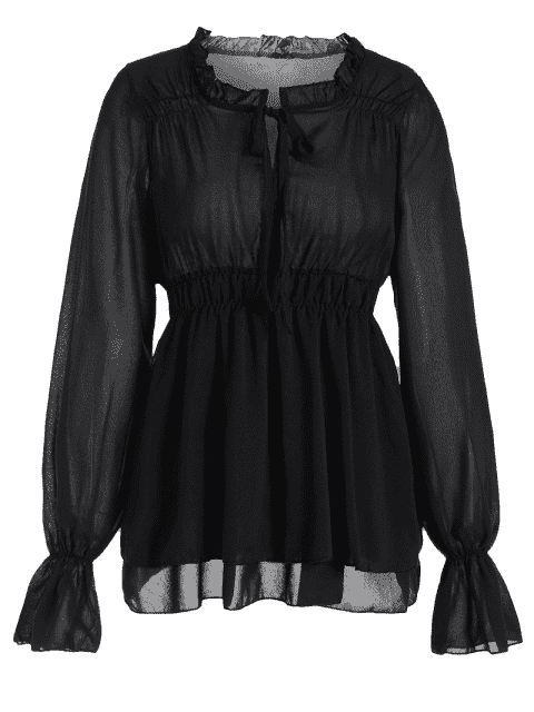 fancy Ruffled Neck Flare Sleeve Tiered Blouse - BLACK S Mobile